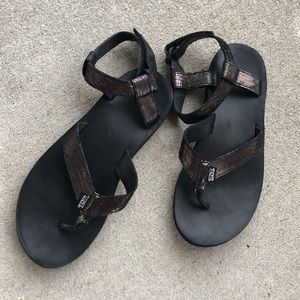 Teva original black metallic sandal women's 10